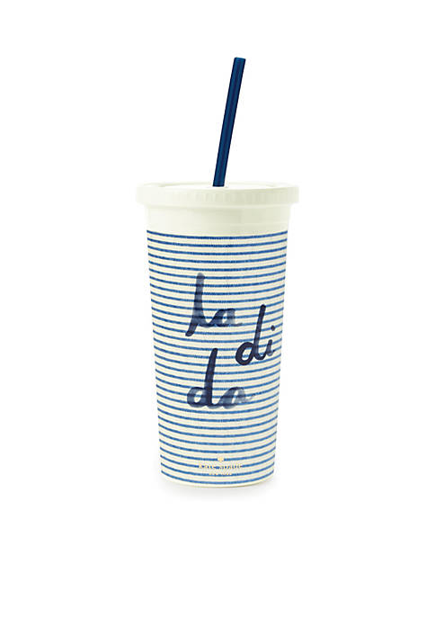 kate spade new york® Seersucker Tumbler With Straw