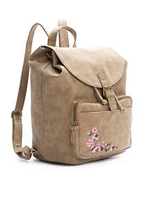 Large Buckle Backpack With Embroidery
