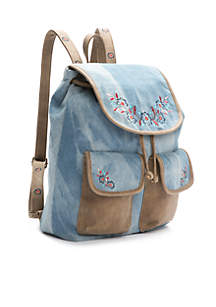 Double Flat Backpack With Embroidery