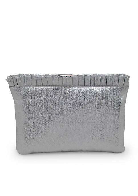 La Regale Sparkle Ruffle Top Frame Clutch
