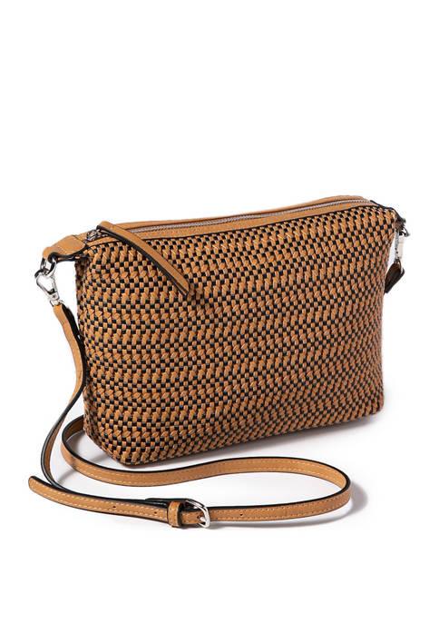 Two Tone Woven Crossbody Handbag