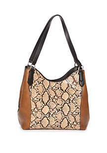 New Directions® 4 Poster Snake Color Block Hobo Bag