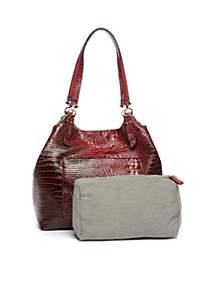 Croc Shoulder Bag with Pocket