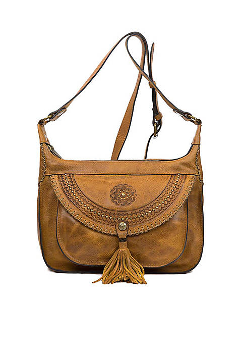 Patricia Nash Distressed Vintage Camila 2 Zip Hobo