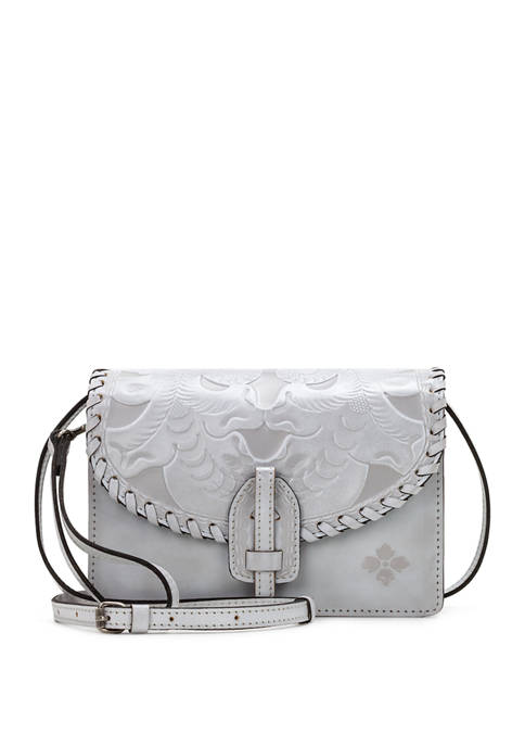 Patricia Nash White Waxed Tooled Lanza Crossboby Bag
