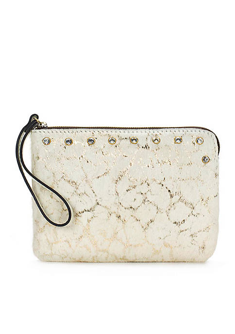 Metallic Haircalf Cassini Wristlet