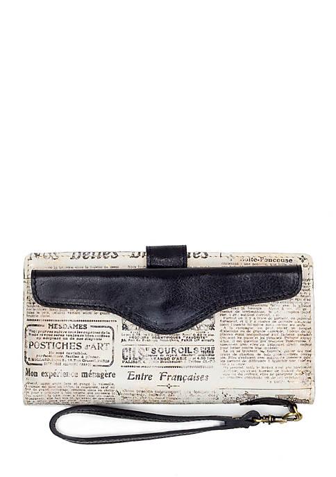 Patricia Nash Newspaper Print Valentia II Wristlet