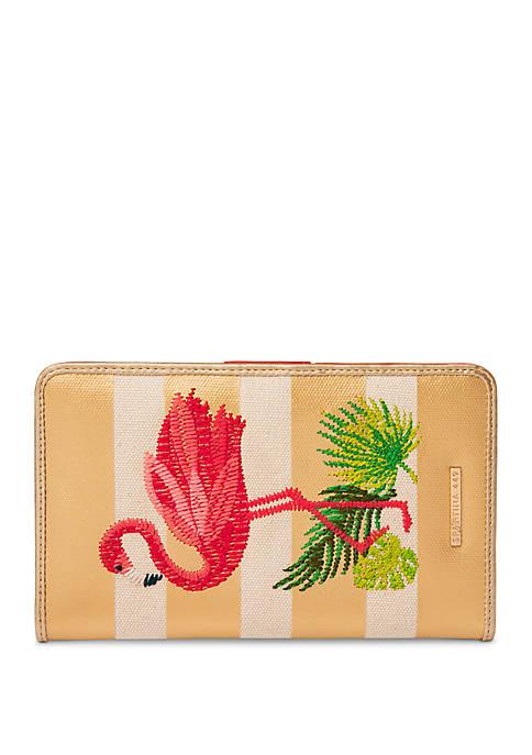 Flamingo Stripe Snap Wallet