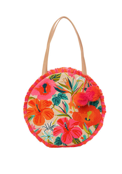 Moreland Embroidered Fringe Round Tote