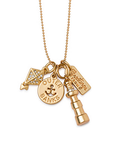 spartina 449 Gold-Tone Outer Banks Charm Necklace