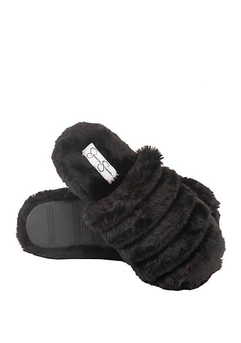 Ribbed Fur Slide