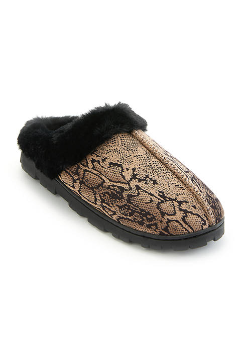 Jessica Simpson Snake Clog Slippers with Faux Fur
