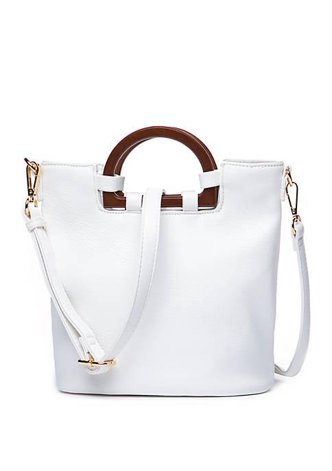 Wood Handle Bucket Bag