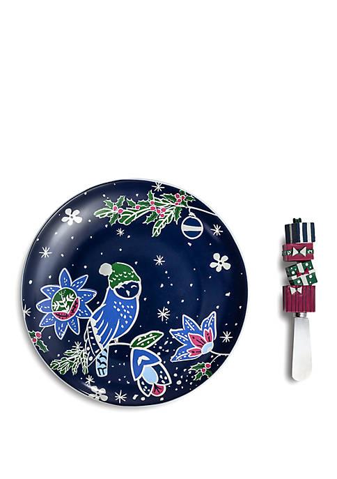 Vera Bradley Holiday Owls Plate and Spreader Set