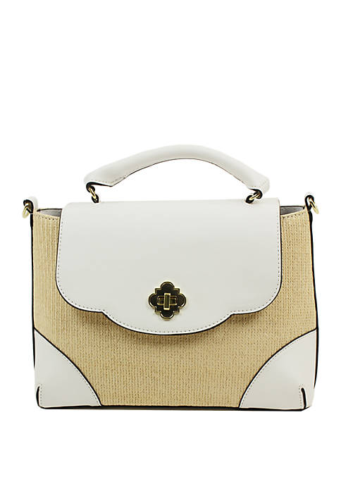Crown & Ivy™ Charlotte Flap Straw Crossbody