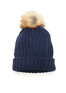 Solid Cable Knit Fur Pom Beanie