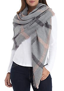 Window Pane Boucle Square Scarf