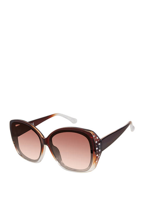New Directions® Square Oversized Rhinestone Detail Sunglasses