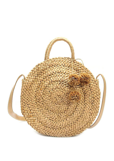 Crown & Ivy™ Large Straw Circle Crossbody Bag