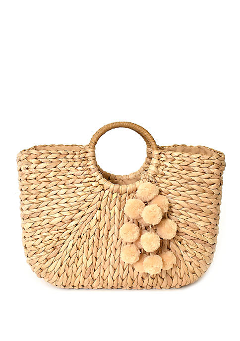 Kaari Blue™ Straw Tote with Pompoms