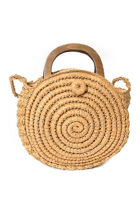 Straw Crossbody Bag with Wooden Handles