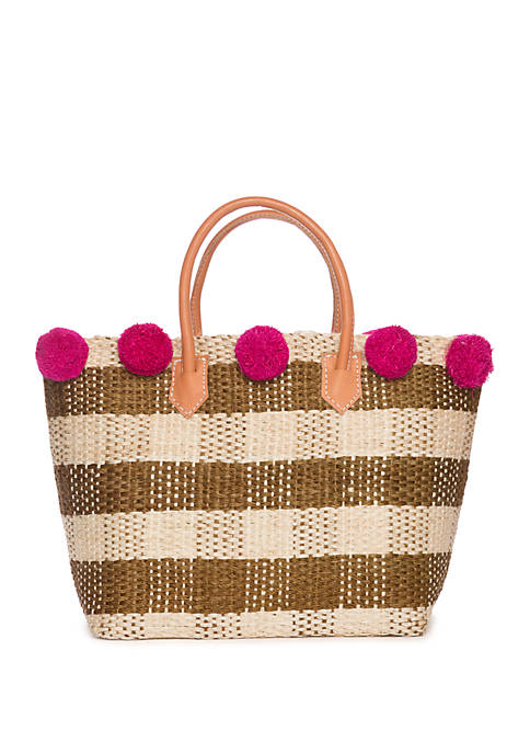 Gingham Straw Tote with Pom Poms