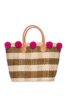 Crown & Ivy™ Gingham Straw Tote with Pom Poms