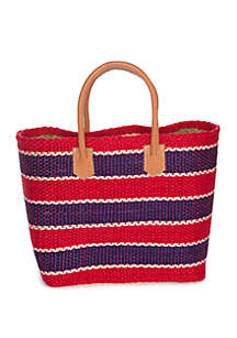 Crown & Ivy™ Stripe Straw Tote