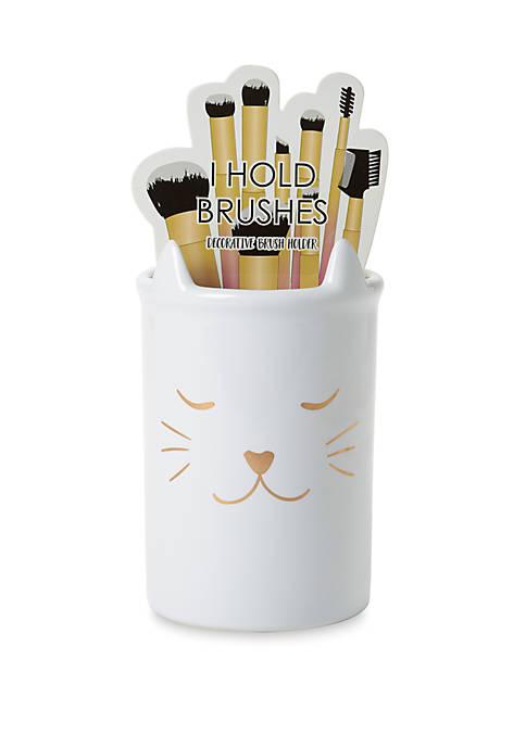 New Directions® Cat Ceramic Brush Holder