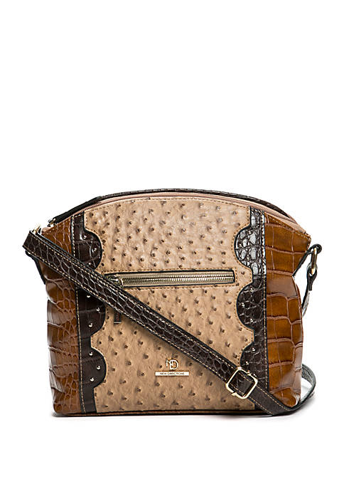 Harper Ostrich Crocodile Crossbody