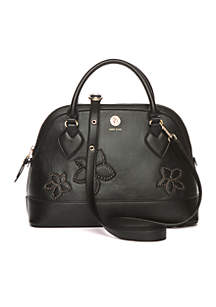 Studded Floral Triple Dome Satchel