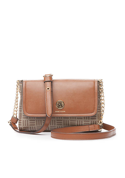 Anne Klein Printed Logo Chain Crossbody Bag