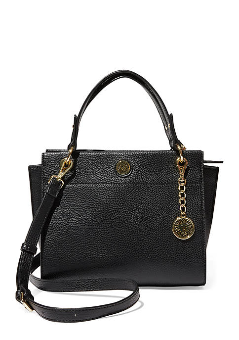 Anne Klein Black Pinched Gusset Satchel with Snake