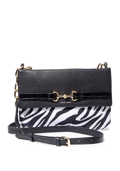 Anne Klein Top Zip Zebra Crossbody Bag