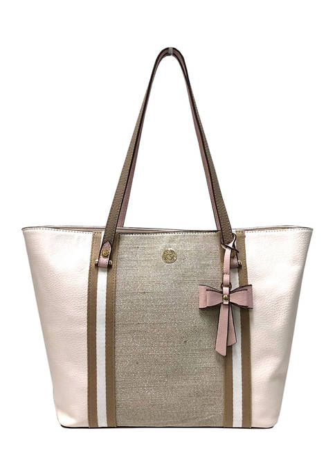 Anne Klein Metallic Carryall Canvas Tote