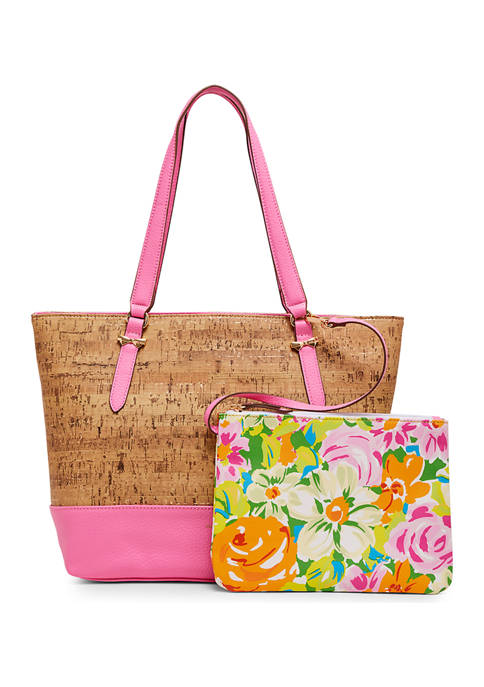 Anne Klein Cork Tote with Floral Pouch