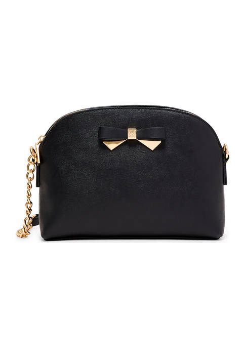 Anne Klein Triple Compartment Crossbody with Metal Bow