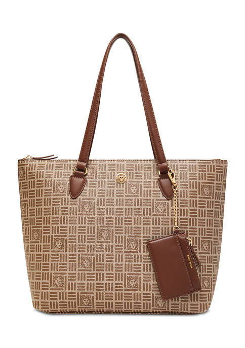 Anne Klein Tile Lion Logo Tote with Card