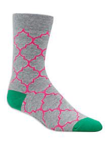 Quatrefoil Crew Socks
