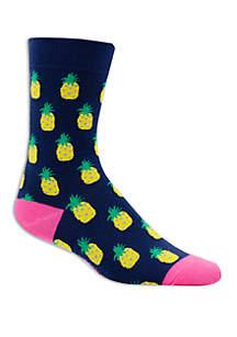 Allover Pineapple Print Crew Socks