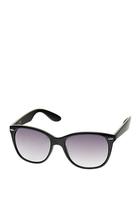 Crown & Ivy™ Large Plastic Rounded Wayfarer Sunglasses