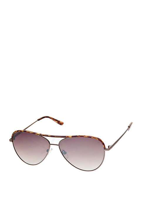 Crown & Ivy™ Metal Aviator Sunglasses with Windsor