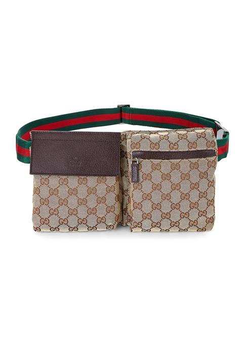 Gucci Brown Canvas Double Pocket Waist Pack - FINAL SALE, NO RETURNS
