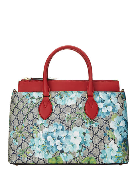 Gucci Navy Coated Canvas Blooms Tote - FINAL SALE, NO RETURNS