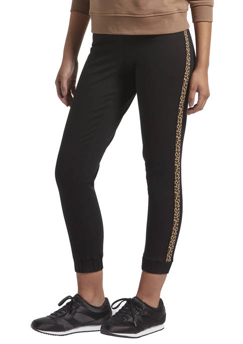 KENDALL + KYLIE Leopard Side Stripe Denim Jogger