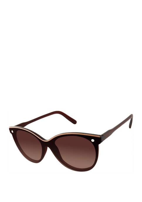 Cat Eye Shield Enamel Brow Sunglasses