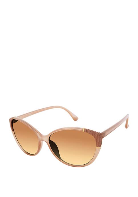 New Directions® Cat Eye Textured Trim Sunglasses