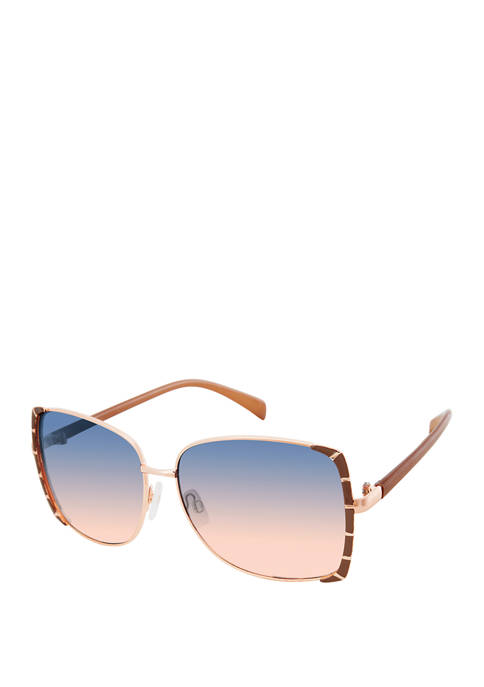 New Directions® Metal Square Bamboo Detail Sunglasses