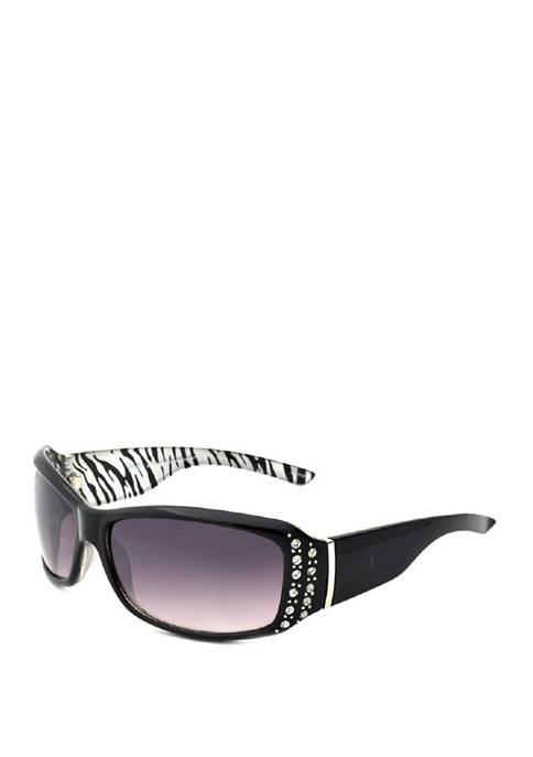 New Directions® Oval Metallic Zebra Print Sunglasses