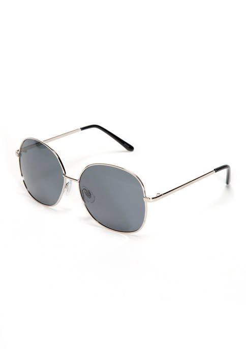 New Directions® Rectangle Silver Black Sunglasses
